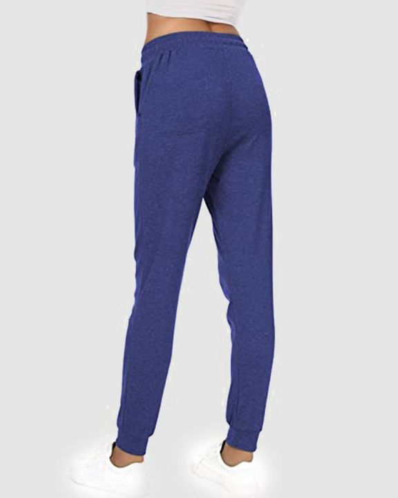 Solid Drawstring Front Pocket Detail Sports Pants gallery 15