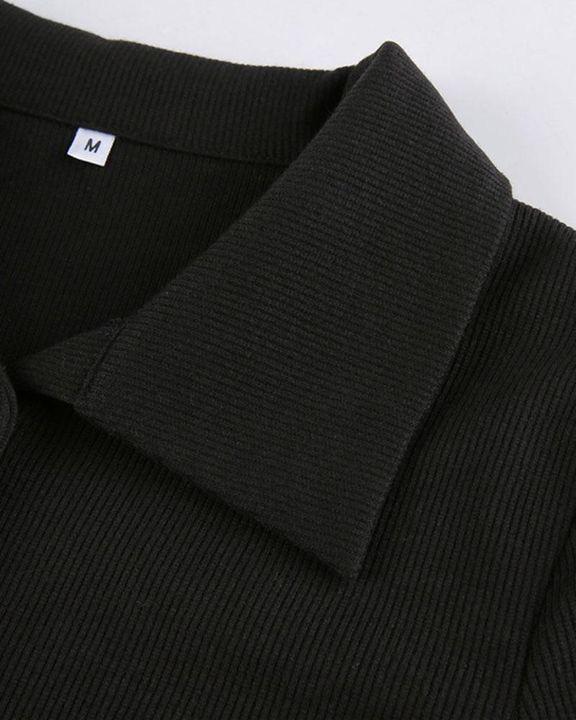 Button Decor Asymmetrical Hem Bodycon Crop Sweater gallery 7