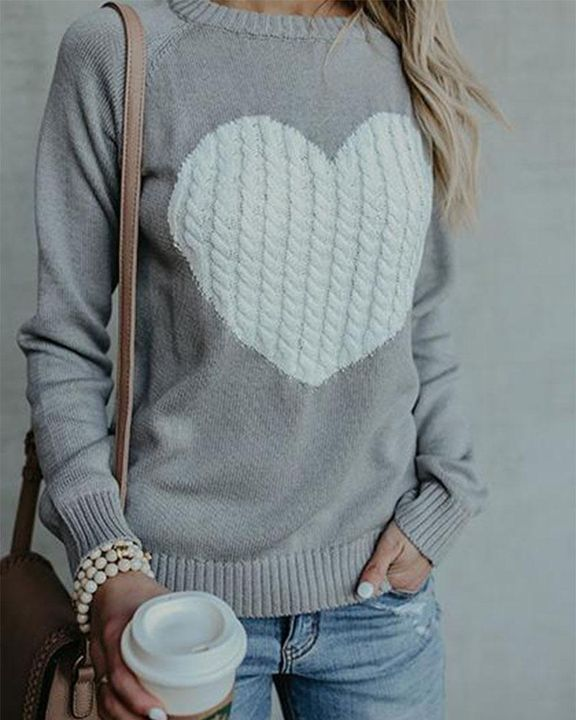 Colorblock Heart Pattern Chunky Knit Round Neck Sweater gallery 7
