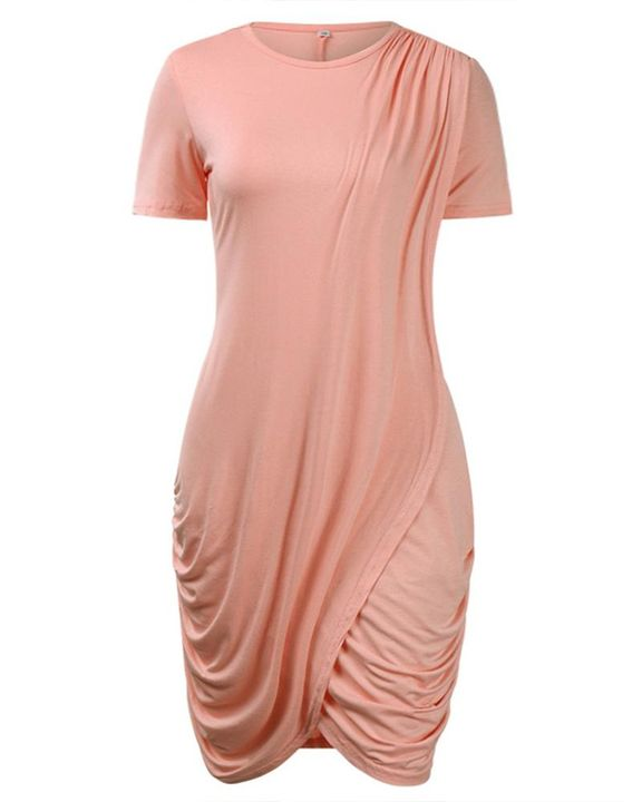 Solid Ruched Wrap Asymmetrical Mini Dress gallery 4