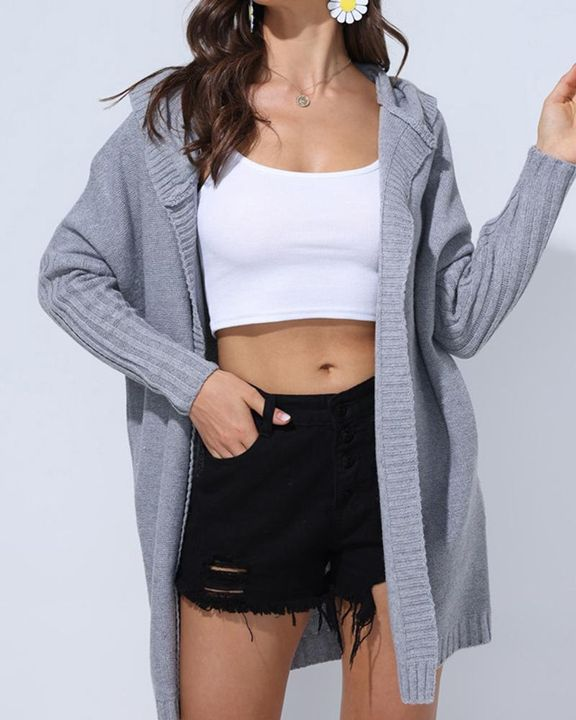 Solid Open Front Hooded Cardigan gallery 1