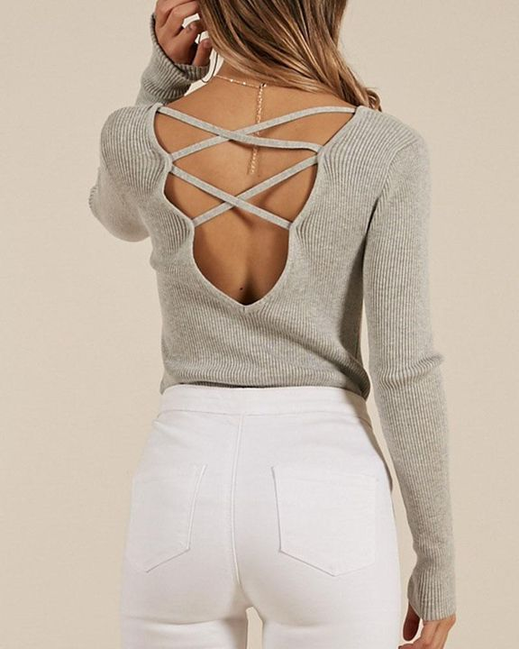 Ribbed Knit Criss Cross Back Bodycon Sweater gallery 5