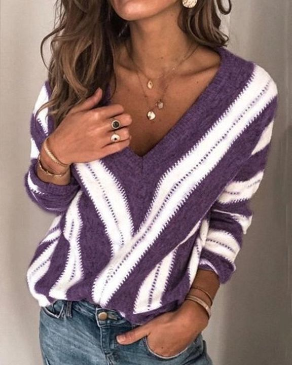 Colorblock Drop Shoulder Ribbed Knit Sweater gallery 1