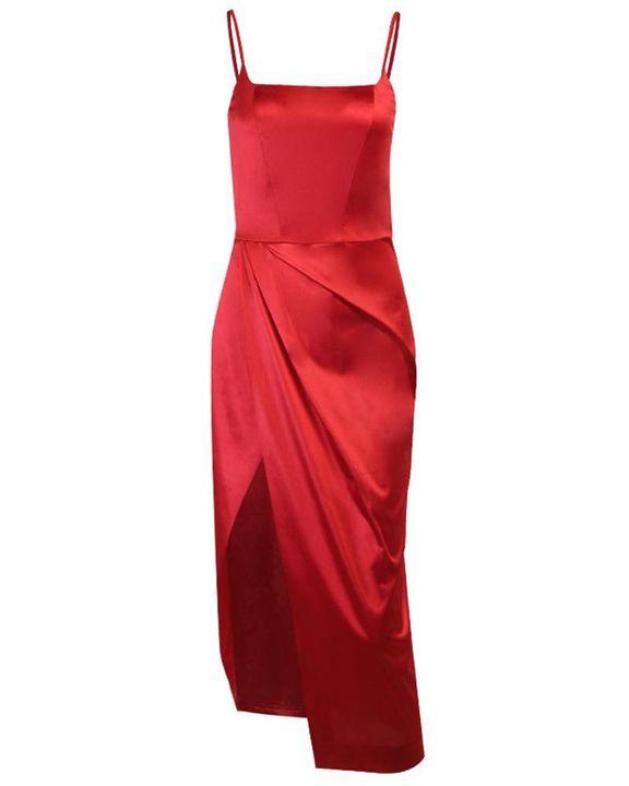 Satin Split Thigh Wrap Midi Dress gallery 5