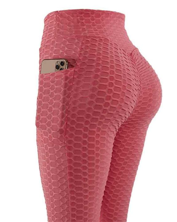 Solid Textured Pocket Detail Scrunch Butt Sports Leggings gallery 7