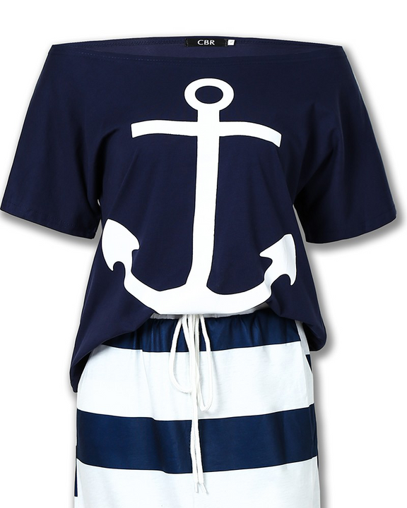 Anchor Print T-Shirt & Striped Skirt Set gallery 7