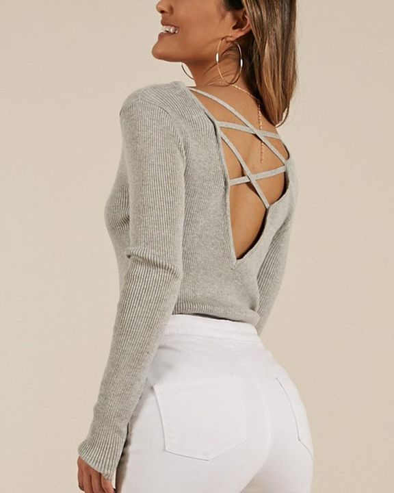 Ribbed Knit Criss Cross Back Bodycon Sweater gallery 4