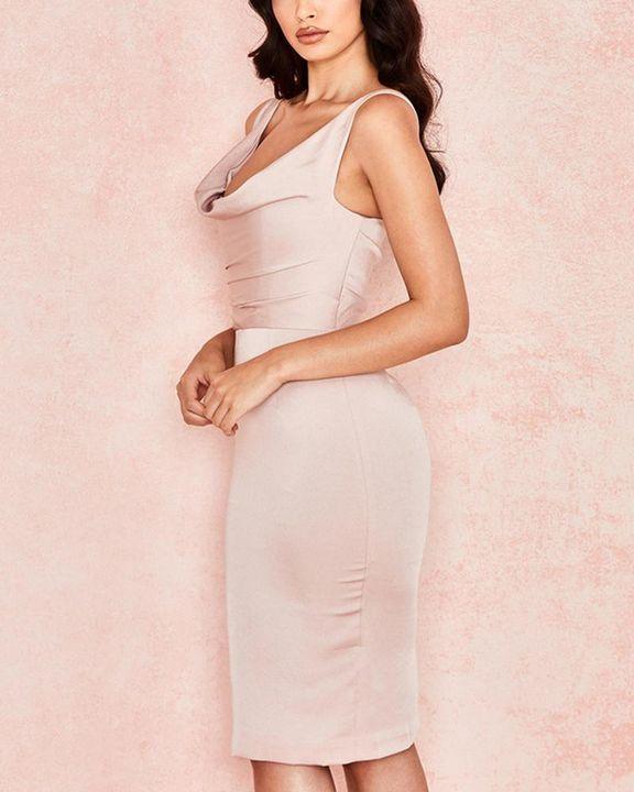 Solid Draped Split Hem Bodycon Knee Length Dress gallery 2