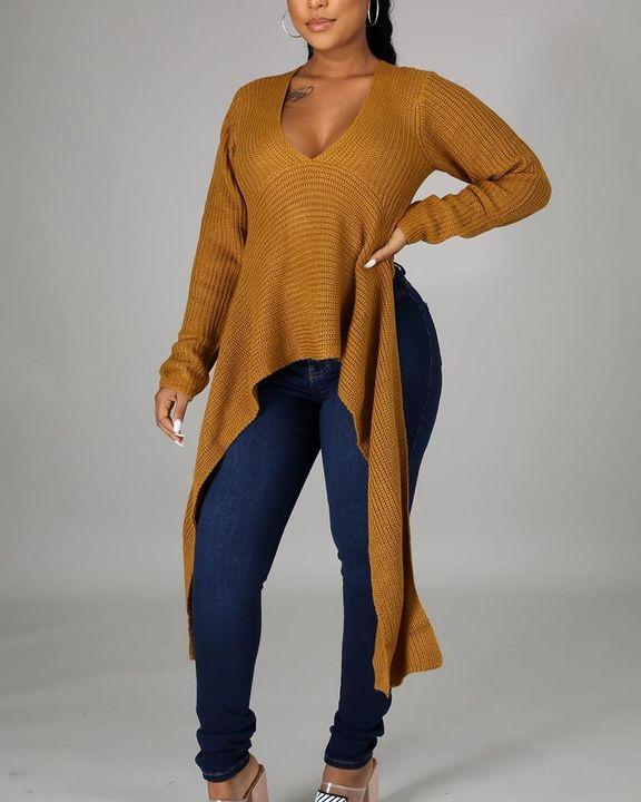 Chunky Knit Split Hem V Neck Sweater gallery 4