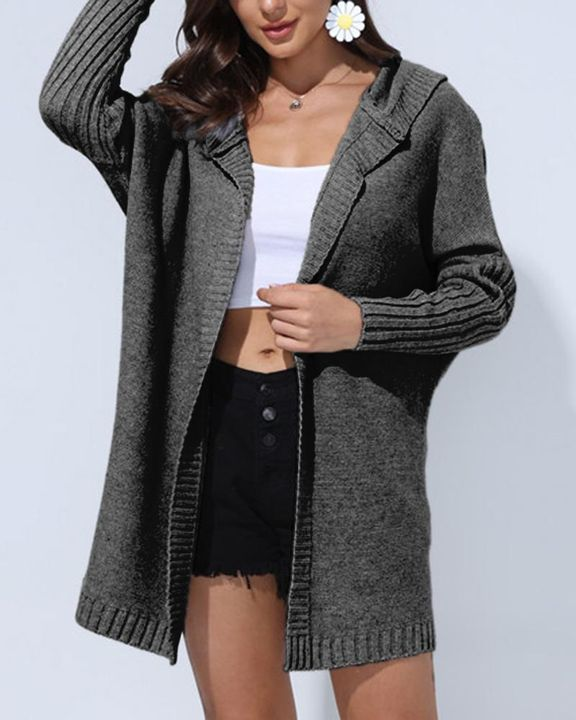 Solid Open Front Hooded Cardigan gallery 2