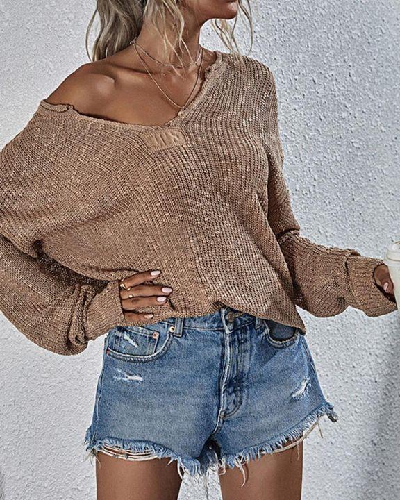 Chunky Knit V Neck Long Sleeve Sweater gallery 3