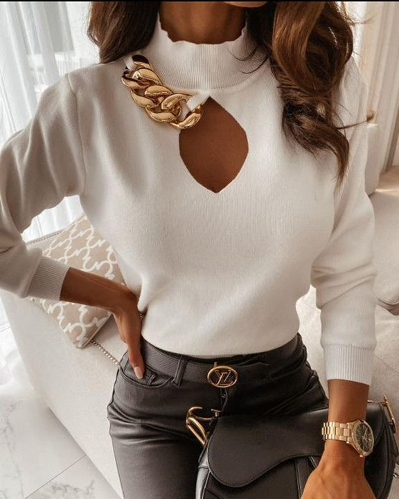 Chain Linked Keyhole Front Stand Collar Sweater gallery 3