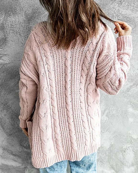 Solid Dual Pocket Cable Knit Cardigan gallery 5