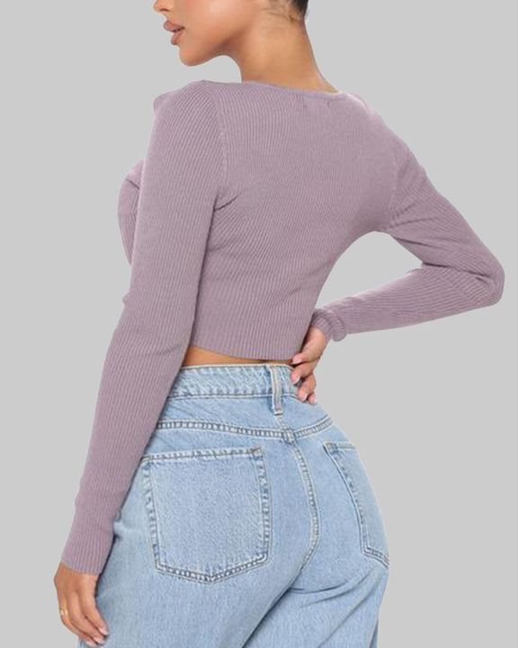 Ribbed Knit Button Decor Crop Sweater gallery 6
