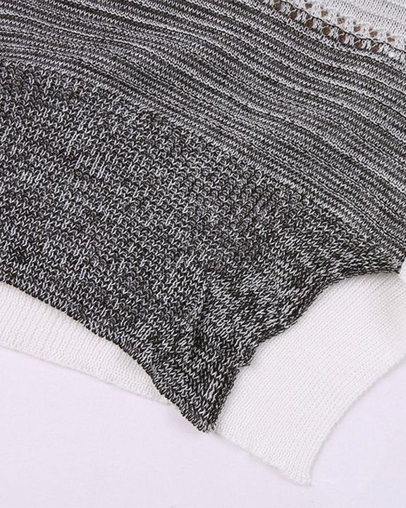 Colorblock Rib-Knit Hollow Out Round Neck Sweater gallery 9