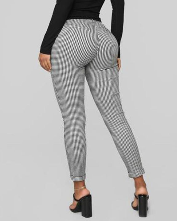 Plaid Cuff Ankle Zip Front Pants gallery 5