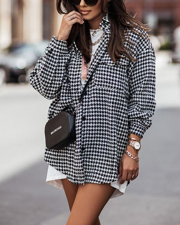 Houndstooth Print Flap Pocket Button Up Coat gallery 1
