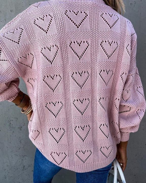 Heart Pattern Hollow Out Rib-Knit Sweater gallery 10