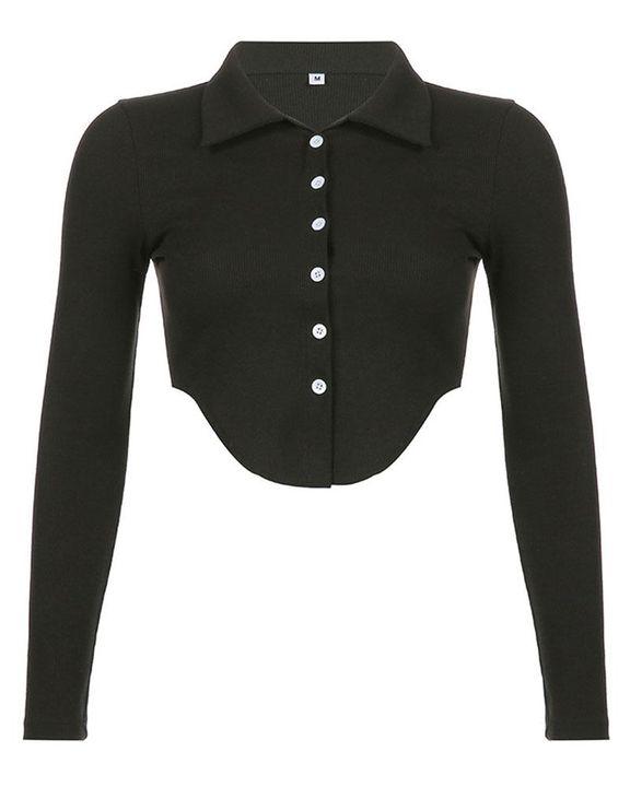 Button Decor Asymmetrical Hem Bodycon Crop Sweater gallery 6