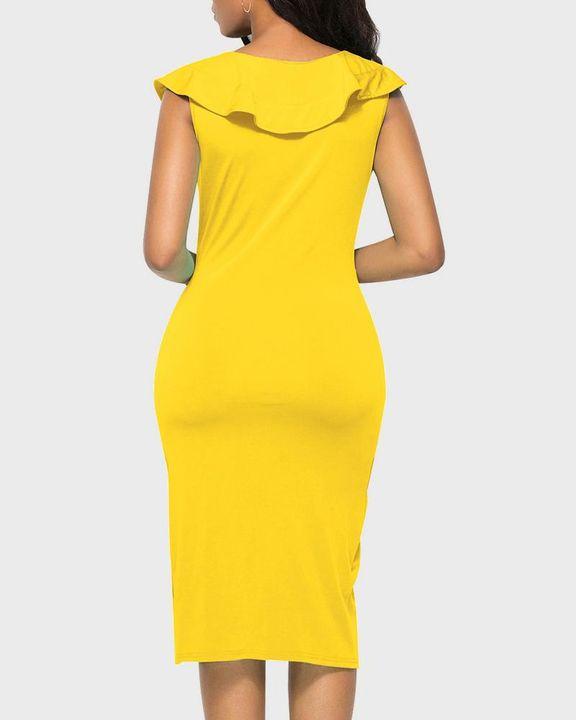 Solid Ruffle Trim Ruched Wrap Asymmetrical Hem Knee Length Dress gallery 8