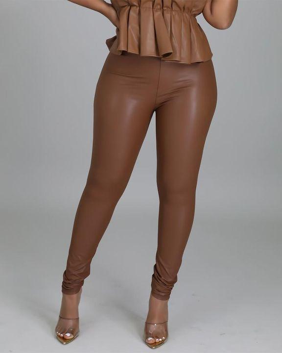 High Waist PU Skinny Pants gallery 1