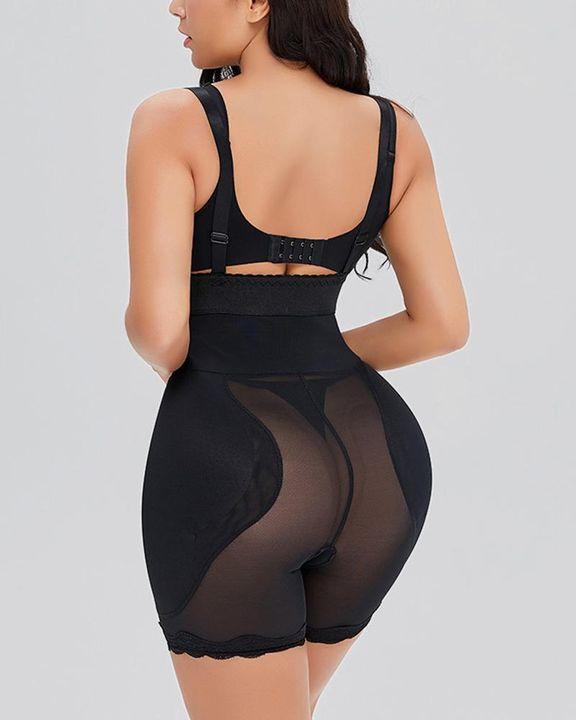 Mesh Insert Zip Up Butt Lifting Suspender Shapewear Shorts gallery 2