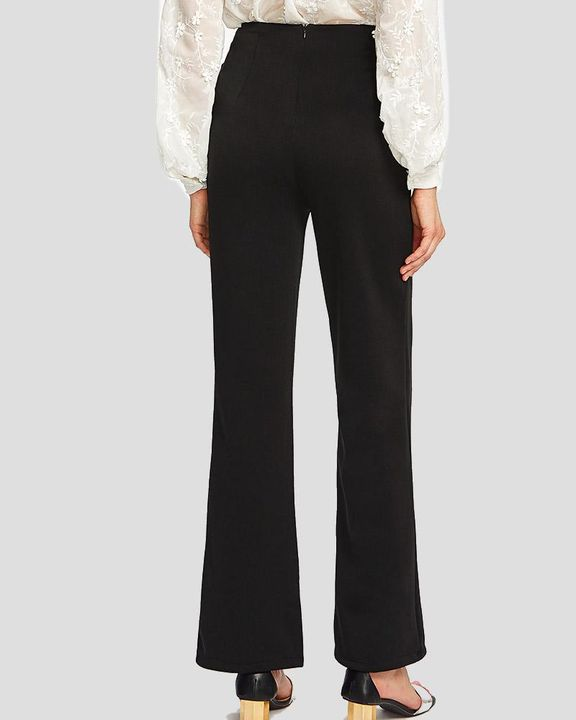 Solid Studded Button Decor Wide Leg Pants gallery 6