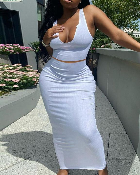 Solid Notched Form Fitting Tank Top & Skirt Set gallery 1