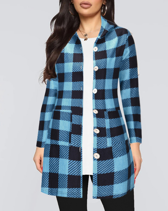 Gingham Button Through Pocket Front Hooded Coat gallery 2