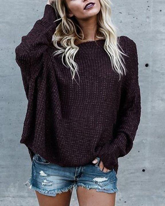 Boat Neck Drop Shoulder Oversized Sweater gallery 4
