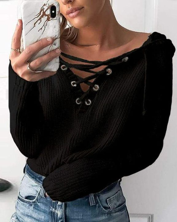 Eyelet Lace Up Ribbed Hooded Sweater gallery 2