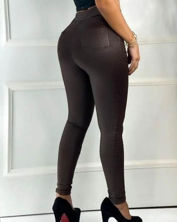 Half Zip Textured High Waist Skinny Pants gallery 4