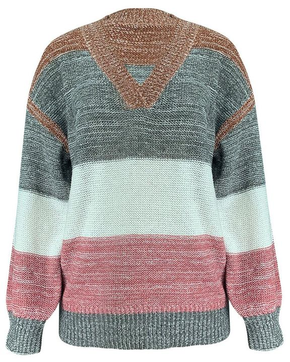 Colorblock Mixed Knit Drop Bishop Sleeve Sweater gallery 5