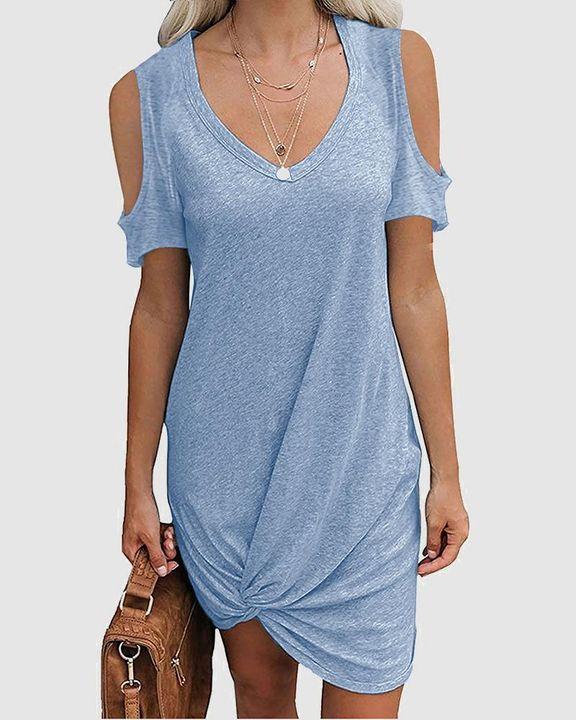 Solid Twist Cold Shoulder Short Dress gallery 2