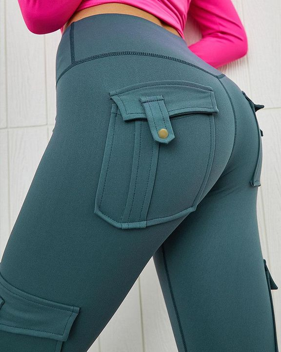 Flap Pocket Butt Lifting Top Stitching Sports Leggings gallery 2