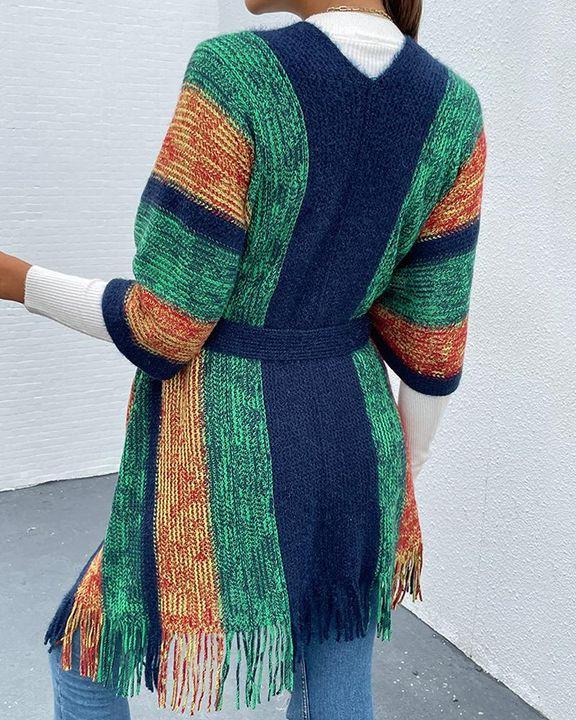 Striped Rib-Knit Fringe Trim Self-Tie Cardigan gallery 3