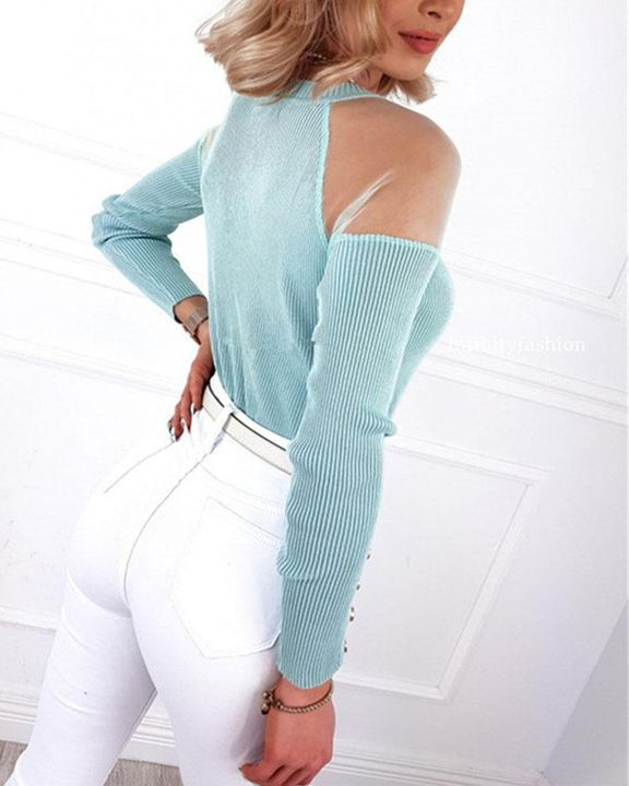 Solid Studded Button Ribbed Mesh Cold Shoulder Sweater gallery 5