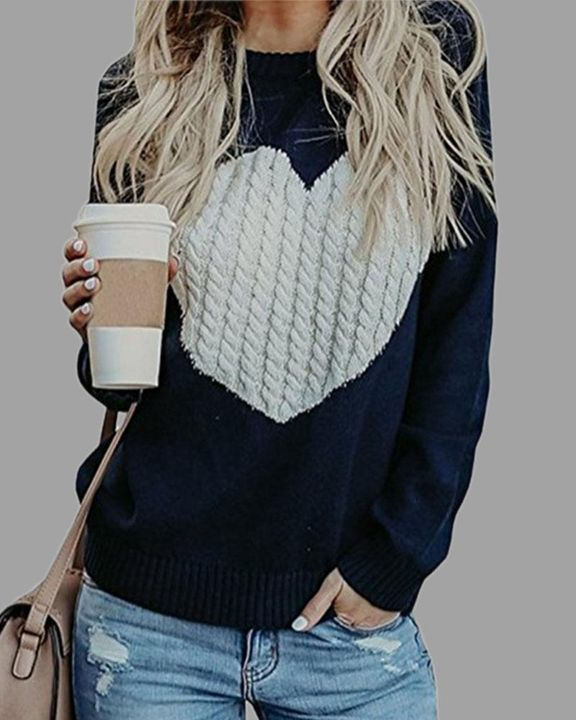 Colorblock Heart Pattern Chunky Knit Round Neck Sweater gallery 3