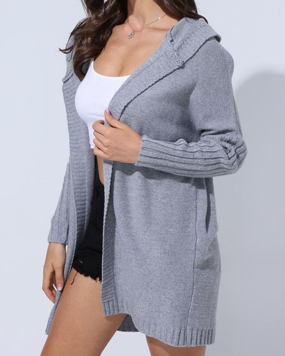 Solid Open Front Hooded Cardigan gallery 4