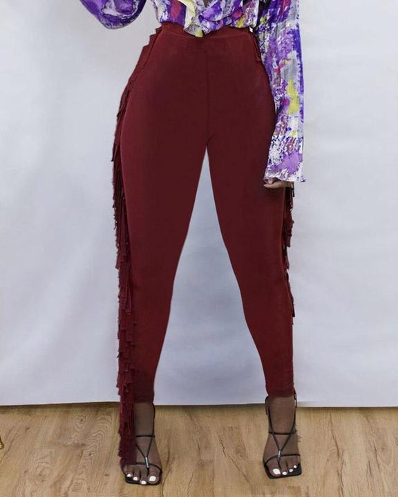 Solid Fringe Trim Side Skinny Pants gallery 1