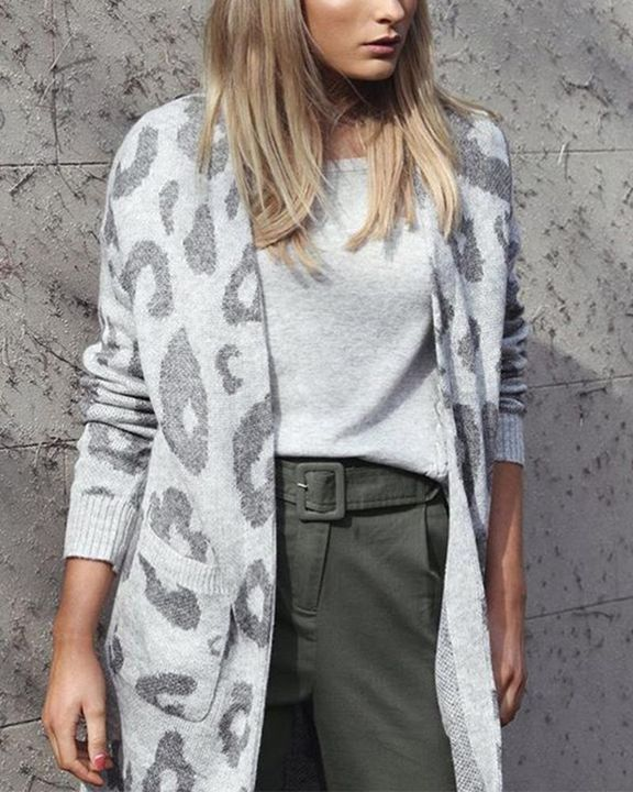 Leopard Print Patch Pocket Open Front Cardigan gallery 3