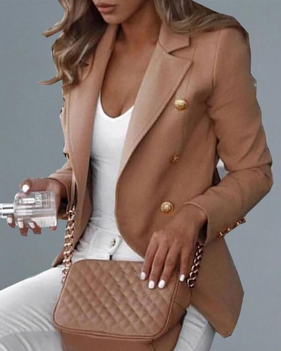 Double Breasted Buckle Decor Houndstooth Blazer gallery 2