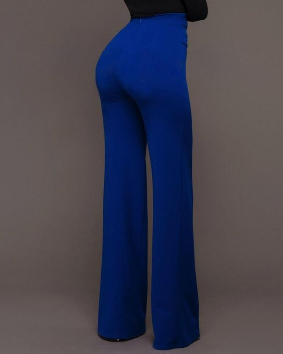 Solid Studded Button Decor Wide Leg Pants gallery 7