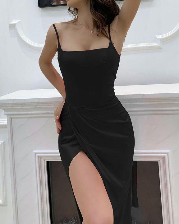 Satin Split Thigh Wrap Midi Dress gallery 11