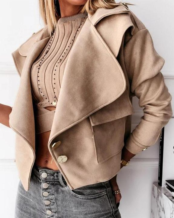 Suede Button Front Flap Pocket Moto Jacket gallery 8