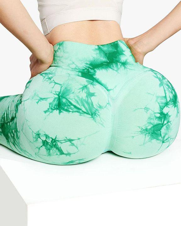 Tie Dye Wide Waistband Butt Lifting Absorbs Sweat Sports Leggings gallery 4