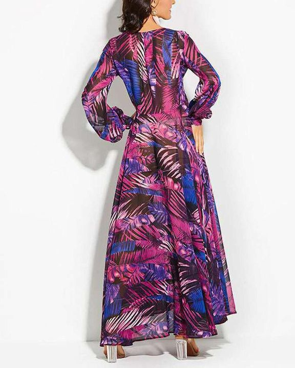 Tropical Print Belted Pleated Surplice Neck Maxi Dress gallery 7