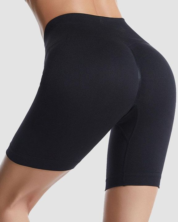 Ribbed Absorbs Sweat High Waist Sports Shorts gallery 2