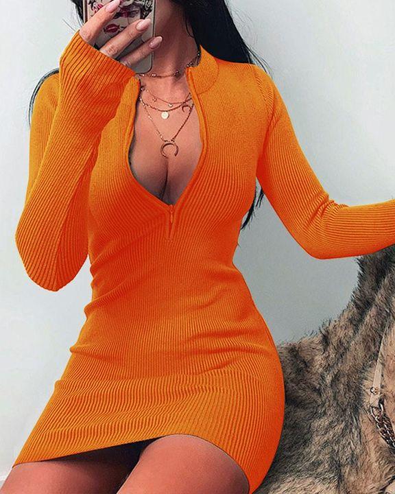 Solid Rib-Knit Zip Up Thumb Hole Mini Dress gallery 5