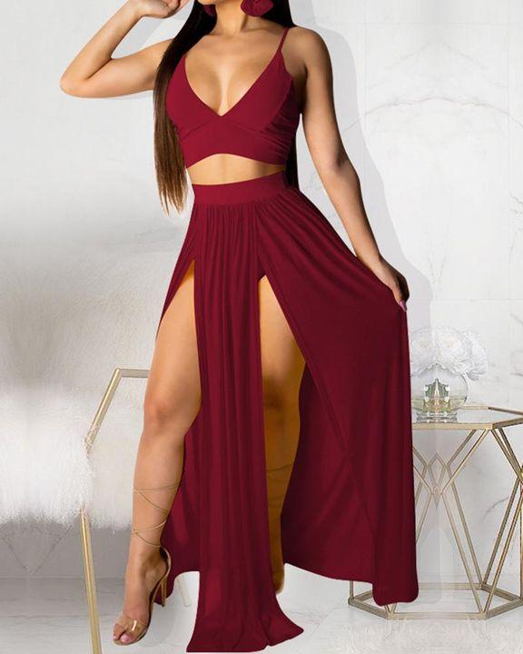Solid Split Thigh Sheer Top & Skirt Set gallery 4